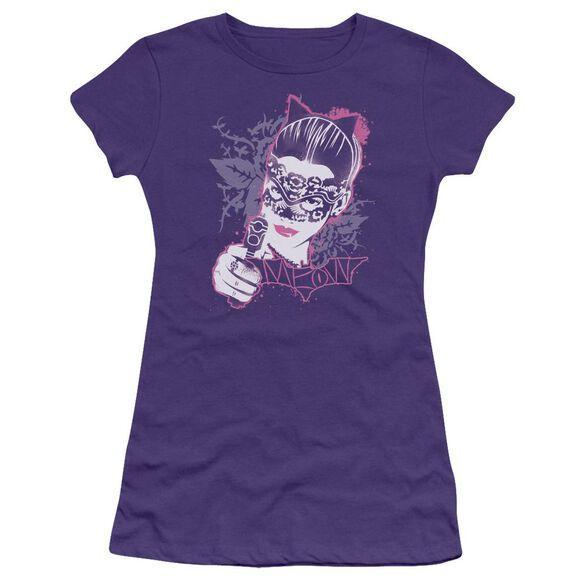 Dark Knight Rises Masked Kitty Short Sleeve Junior Sheer T-Shirt