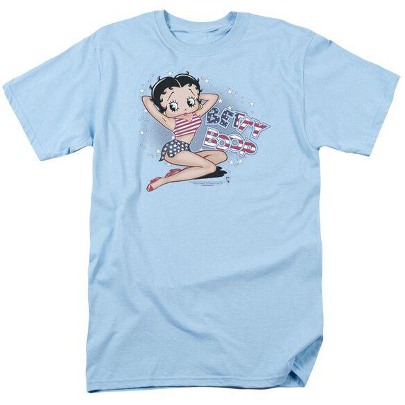 Betty Boop All American Girl Short Sleeve Adult Light Blue T-Shirt