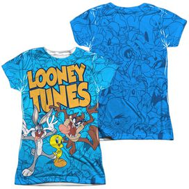 Looney Tunes Collage Of Characters (Front Back Print) Short Sleeve Junior Poly Crew T-Shirt