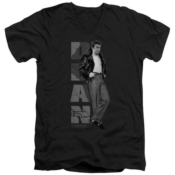 Dean Standing Leather Short Sleeve Adult V Neck T-Shirt