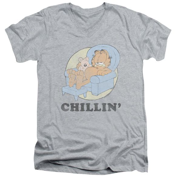 Garfield Chillin Short Sleeve Adult V Neck Athletic T-Shirt