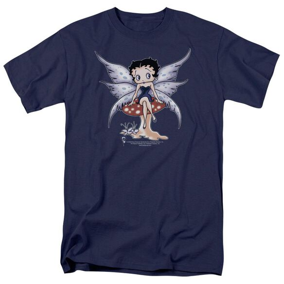Betty Boop Mushroom Fairy Short Sleeve Adult Navy T-Shirt