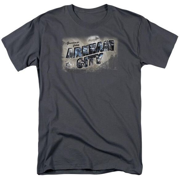 Arkham City Greetings From Arkham Short Sleeve Adult Charcoal T-Shirt