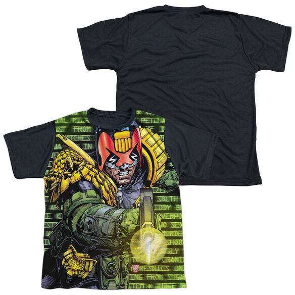 Judge Dredd Matrix Short Sleeve Youth Front Black Back T-Shirt