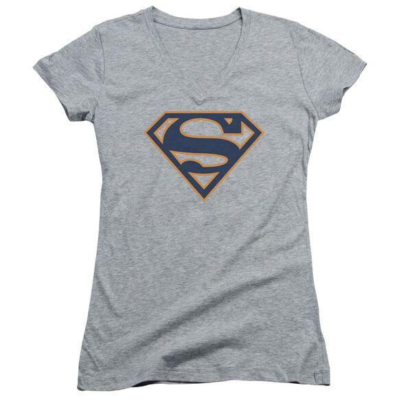 Superman Navy & Orange Shield Junior V Neck Athletic T-Shirt