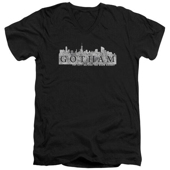 Gotham Skyline Logo Short Sleeve Adult V Neck T-Shirt