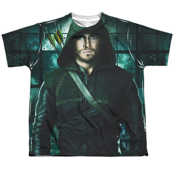 Arrow Two Sides Short Sleeve Youth Poly Crew T-Shirt