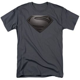 Man Of Steel Mos Desaturated Short Sleeve Adult Charcoal T-Shirt