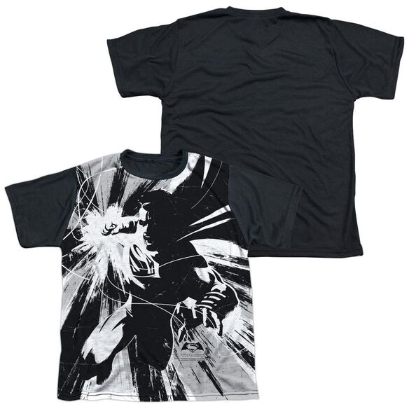 Batman V Superman Graphic Contrast Short Sleeve Youth Front Black Back T-Shirt