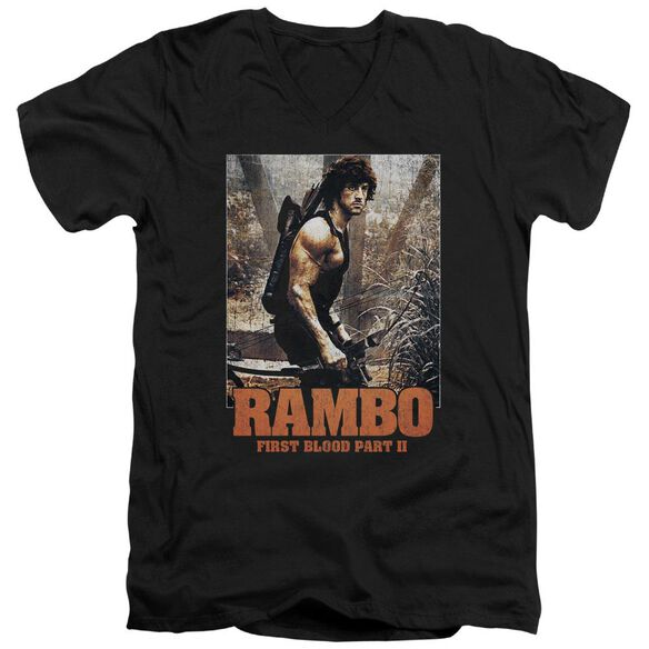Rambo:First Blood Ii The Hunt Short Sleeve Adult V Neck T-Shirt