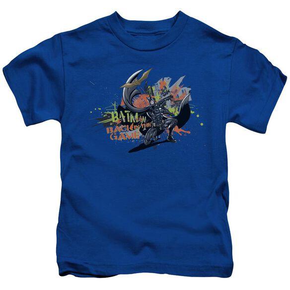 Dark Knight Rises Back In The Game Short Sleeve Juvenile Royal Blue T-Shirt