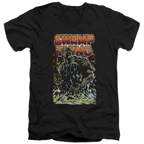 Jla Swamp Thing Short Sleeve Adult V Neck T-Shirt