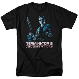 Terminator 2 Poster Short Sleeve Adult Black T-Shirt