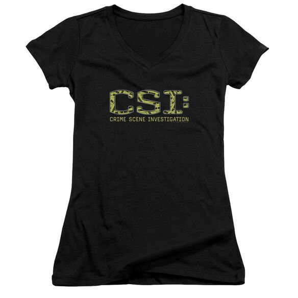 Csi Collage Logo Junior V Neck T-Shirt