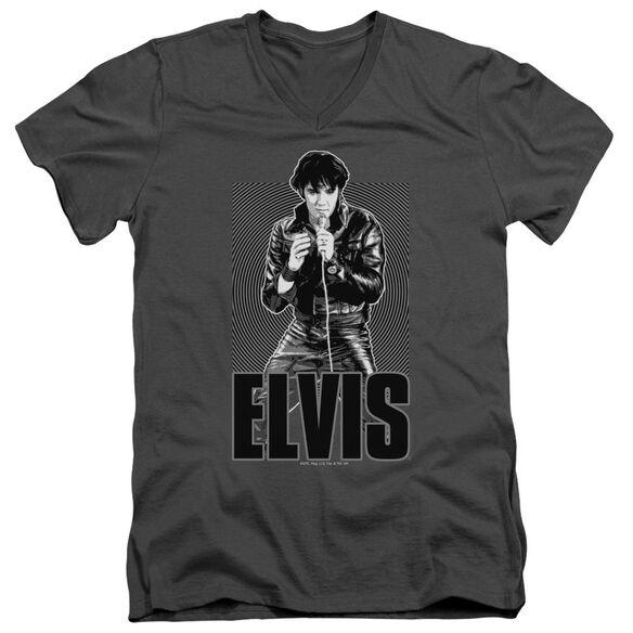 Elvis Leather Short Sleeve Adult V Neck T-Shirt