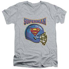 Superman Helmet Short Sleeve Adult V Neck Athletic T-Shirt