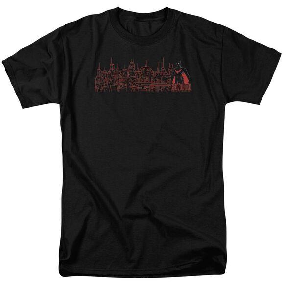 Batman Beyond Neo Gotham Skyline Short Sleeve Adult Black T-Shirt