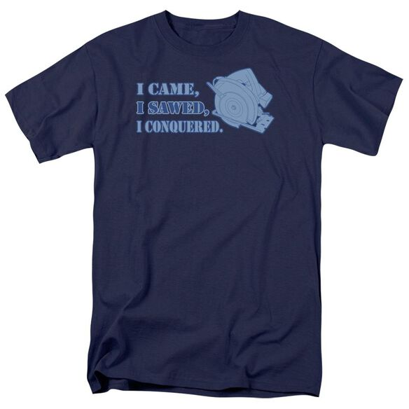 I Came I Sawed Short Sleeve Adult Navy T-Shirt