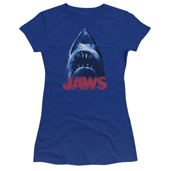 Jaws From Below Premium Bella Junior Sheer Jersey Royal