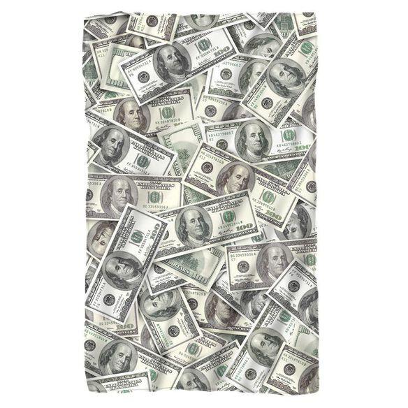 hundred dollar bills fleece blanket white fye