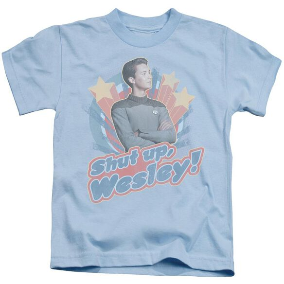 Star Trek Shut Up Wesley Short Sleeve Juvenile Light Blue T-Shirt