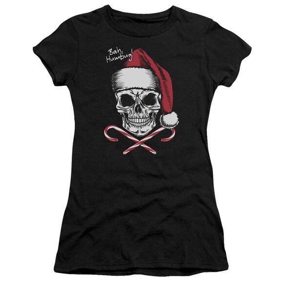 Skull Bah Humbug Short Sleeve Junior Sheer T-Shirt