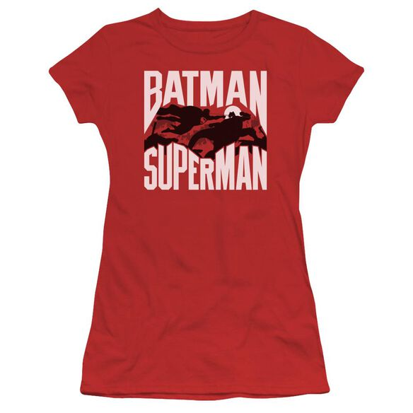 Batman Vs Superman Silhouette Fight Short Sleeve Junior Sheer T-Shirt