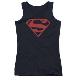 Superman Red On Shield Juniors Tank Top