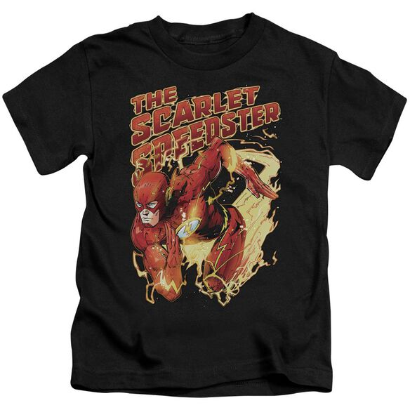 Jla Scarlet Speedster Short Sleeve Juvenile Black T-Shirt