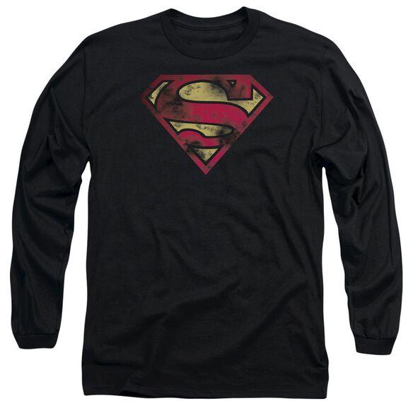 Superman War Torn Logo Long Sleeve Adult T-Shirt