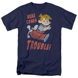 Dennis The Menace Here Comes Trouble Short Sleeve Adult Navy T-Shirt