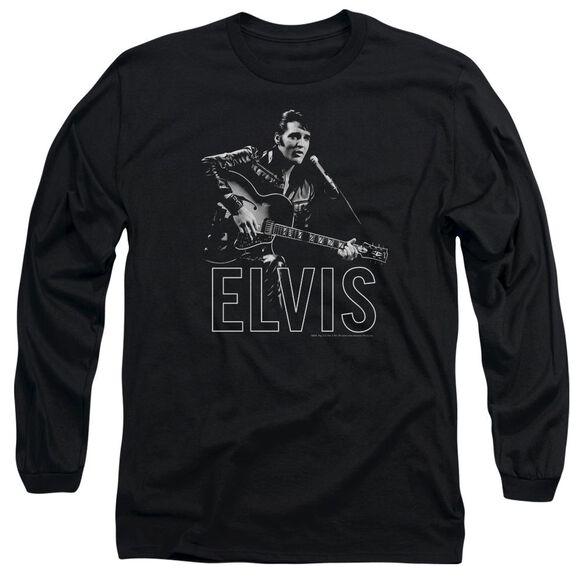 Elvis Presley Guitar In Hand Long Sleeve Adult T-Shirt