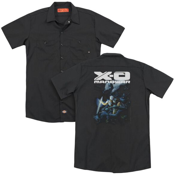 Xo Manowar By The Sword (Back Print) Adult Work Shirt