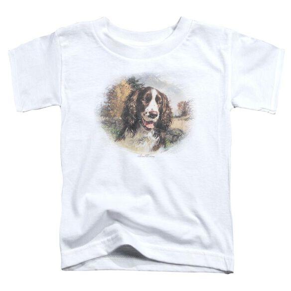 Wildlife Springer Spaniel Head Short Sleeve Toddler Tee White T-Shirt