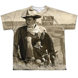 John Wayne Stoic Cowboy Short Sleeve Youth Poly Crew T-Shirt