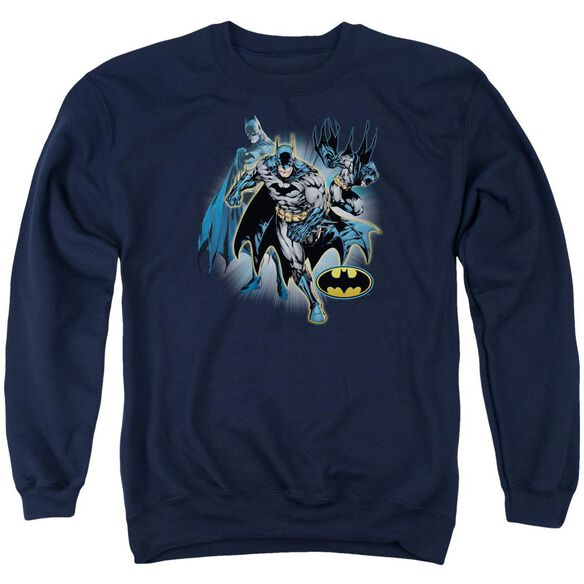 Jla Batman Collage Adult Crewneck Sweatshirt
