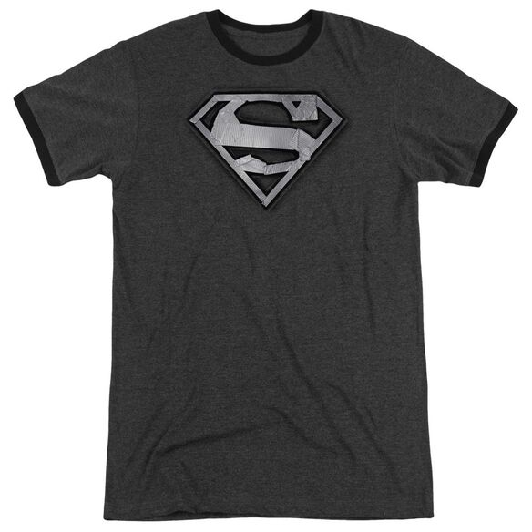 Superman Duct Tape Shield Adult Heather Ringer Charcoal