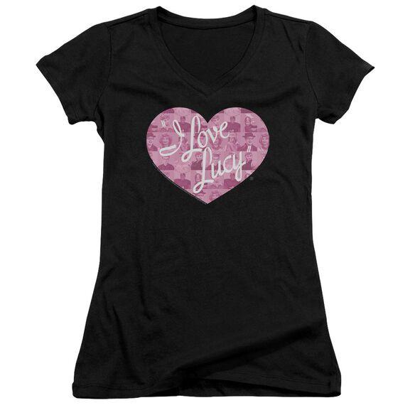 I Love Lucy Many Moods Logo Junior V Neck T-Shirt