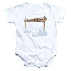 Its A Wonderful Life Bedford Falls Infant Snapsuit White