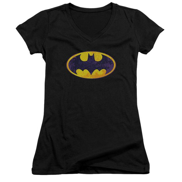Batman Bm Neon Distress Logo - Junior V-neck - Black
