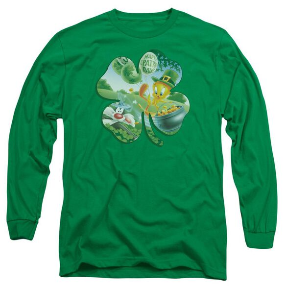 Looney Tunes Tweety Shamrock Long Sleeve Adult Kelly T-Shirt