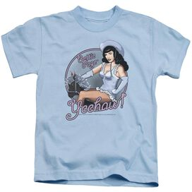 Bettie Page Cowgirl Short Sleeve Juvenile Light Blue Md T-Shirt