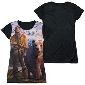 Grizzly Adams Man And Bear Short Sleeve Junior Poly Black Back T-Shirt