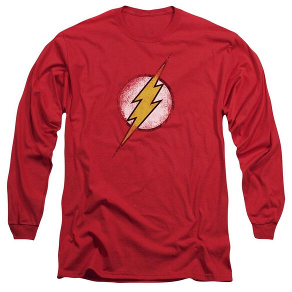 Jla Destroyed Flash Logo Long Sleeve Adult T-Shirt