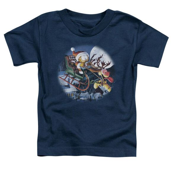 Garfield Moonlight Ride Short Sleeve Toddler Tee Navy T-Shirt