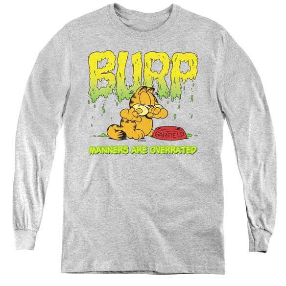 Garfield Manners - Youth Long Sleeve Tee - Athletic Heather