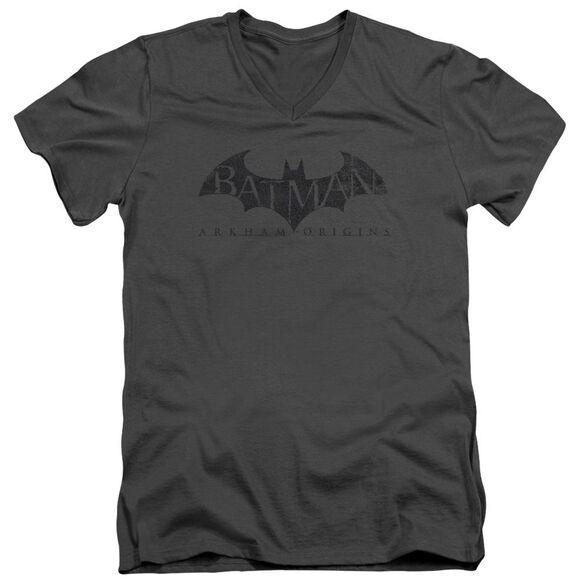 Batman Arkham Origins Crackle Logo Short Sleeve Adult V Neck T-Shirt