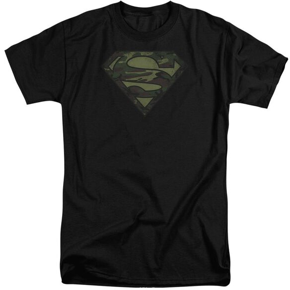 Superman Camo Logo Distressed Short Sleeve Adult Tall T-Shirt