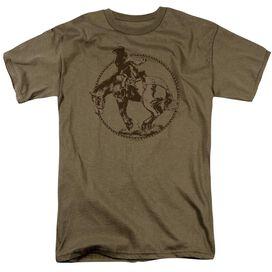 Bucking Bronco Short Sleeve Adult Safari Green T-Shirt