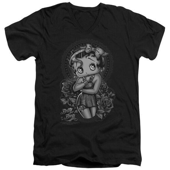 Betty Boop Fashion Roses Short Sleeve Adult V Neck T-Shirt